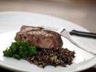 Grilled Garlic Ribeye with Wild Rice and Broccoli