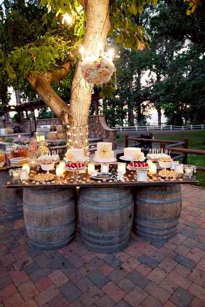 Amazing Wine Barrel Buffet Tables.
