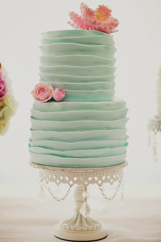 mint and coral fondant wedding cakes